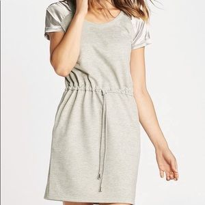 Satin Sleeve Sweatshirt Dress